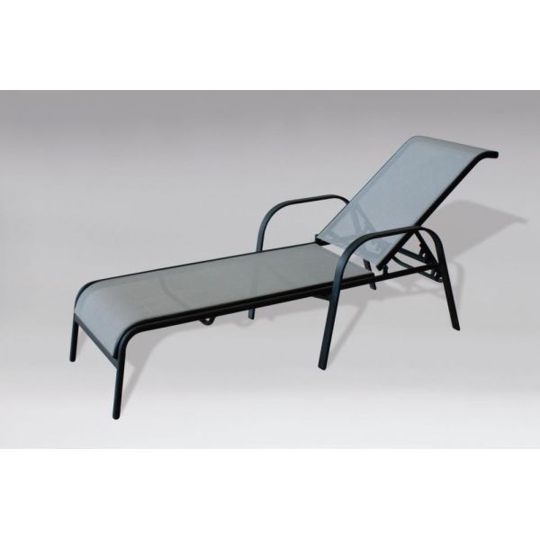 chaise longue jardin empilable en acier gris fonc. Black Bedroom Furniture Sets. Home Design Ideas