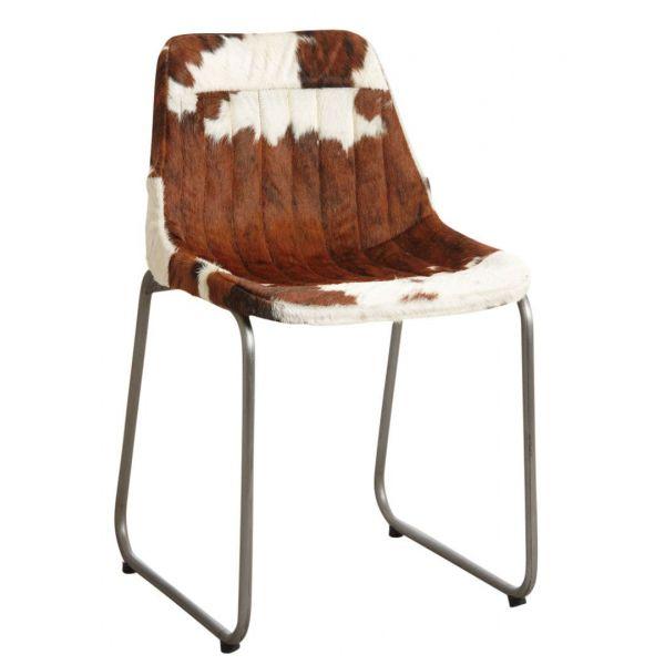 Chaise en peau de vache marron et blanche bbe129508ca1