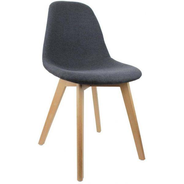 Chaise scandinave en tissu et pieds en bois noire jardindeco Chaise scandinave
