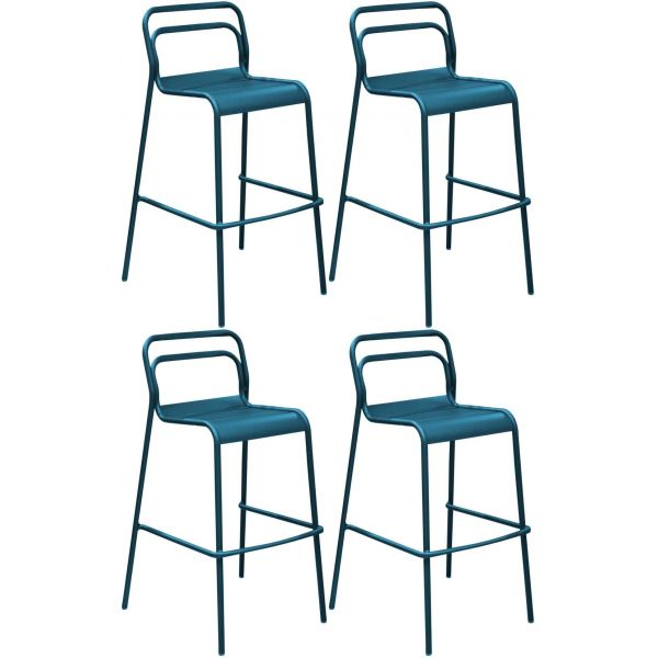 Chaises de bar jardin design aluminium Eos (Lot de 4)