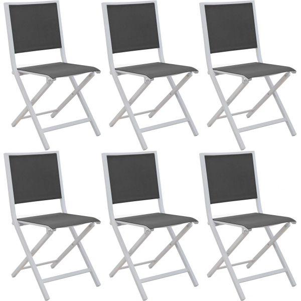 Chaises pliantes en aluminium Ida (Lot de 6) (Blanc et graphite)