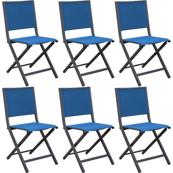 Chaises pliantes en aluminium Ida (Lot de 6) (Gris et nuit)