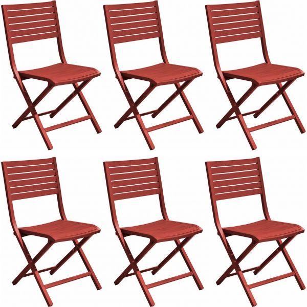 Chaises pliantes en aluminium Lucca (Lot de 6) (Rouge)