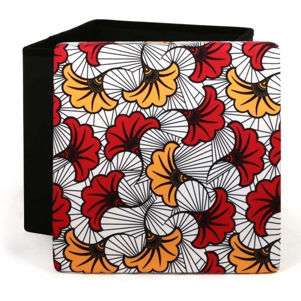 Coffre pouf pliable couvercle à motifs Wax - THE HOME DECO FACTORY