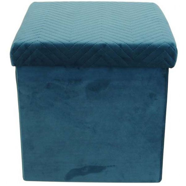 Coffre pouf pliable en velours Zig zag - THE HOME DECO FACTORY