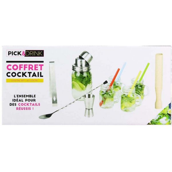 Coffret à cocktail avec 4 shooters 10 cl