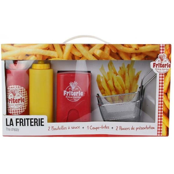 Coffret coupe frites paniers et pousses sauces - TOTALLY ADDICT