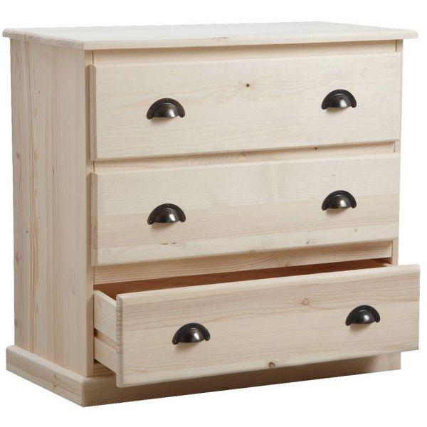 commode 3 tiroirs en bois brut. Black Bedroom Furniture Sets. Home Design Ideas