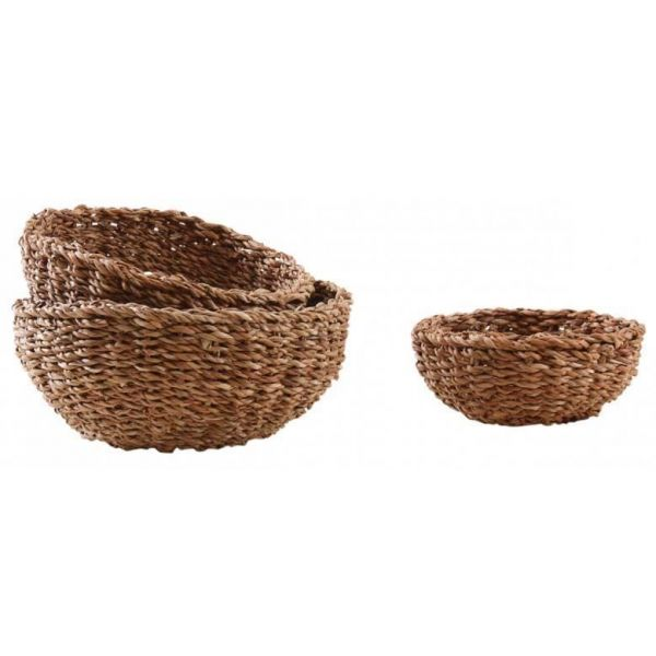 Corbeille ronde en jonc naturel (Lot de 3)
