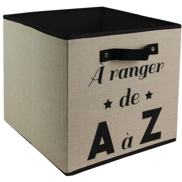 Cube De Rangement En Tissu Famille 30 Cm Beige