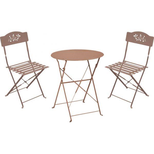 Ensemble de jardin Diana 1 table + 2 chaises (Taupe)