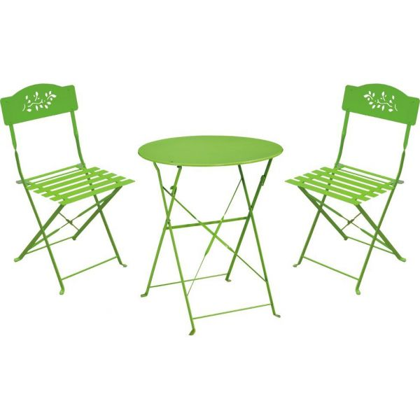 Ensemble de jardin Diana 1 table + 2 chaises (Vert)