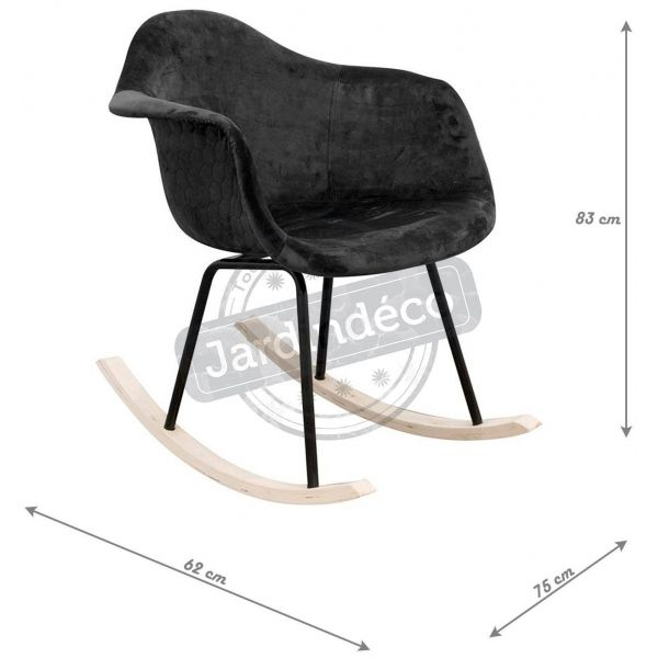 Fauteuil à bascule assise en velours noir