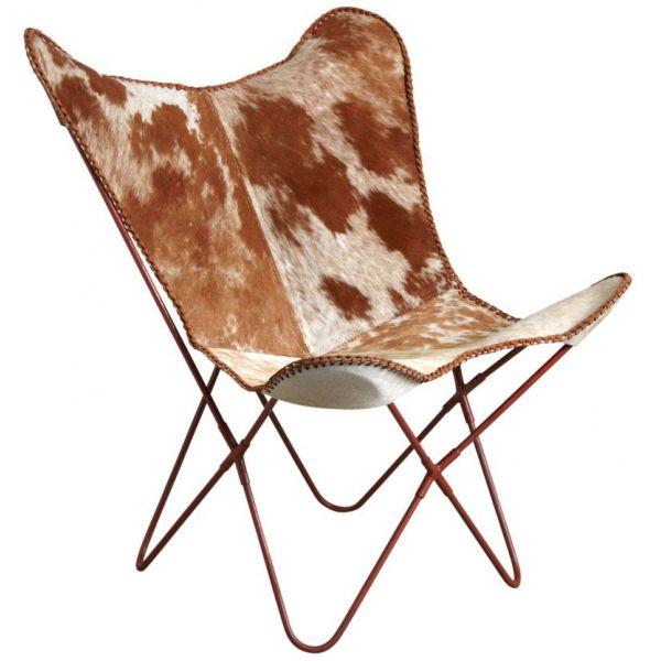 chaise papillon peau de vache. Black Bedroom Furniture Sets. Home Design Ideas