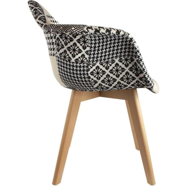 fauteuil scandinave patchwork noir et blanc. Black Bedroom Furniture Sets. Home Design Ideas
