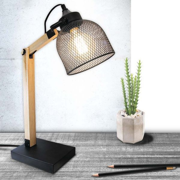 Lampe de bureau style industriel métal et bois - THE HOME DECO LIGHT