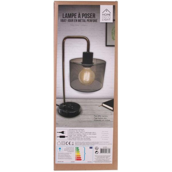 Lampe à poser métal grillagé socle marbre - THE HOME DECO LIGHT
