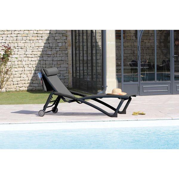 bain de soleil en aluminium zoe lot de 2 gris. Black Bedroom Furniture Sets. Home Design Ideas