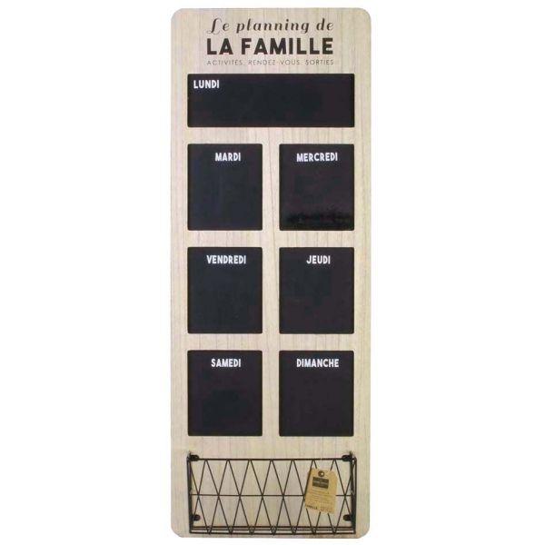 ... Organiseur Semainier En Bois Et Ardoise Famille   THE HOME DECO FACTORY  ...