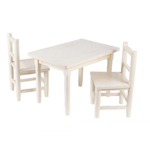 Salon Enfant 1 Table 2 Chaises En Pin Blanchi