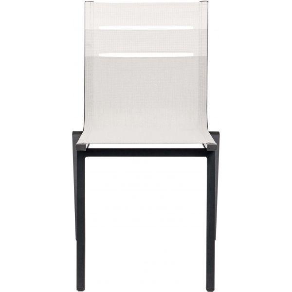 Salon de jardin alu moderne 8 chaises Guethary (Table anthracite + chaises  toile beige)