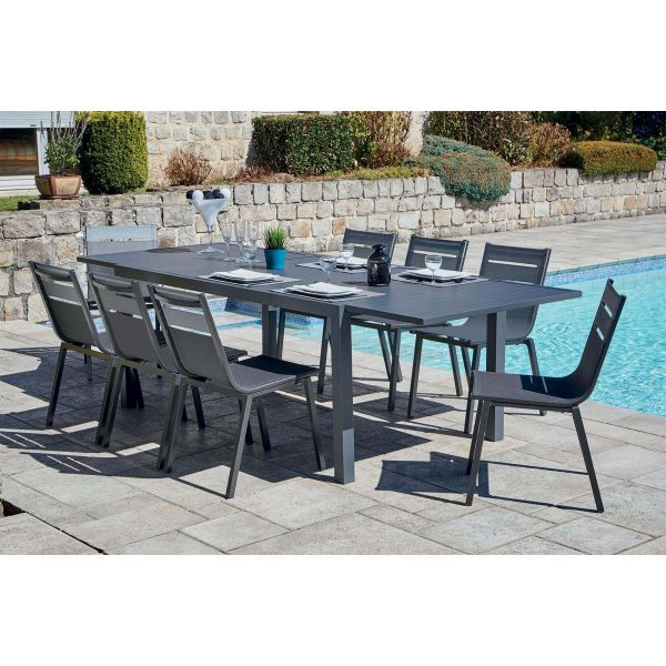 Salon de jardin alu moderne 8 chaises guethary (table anthracite + ...