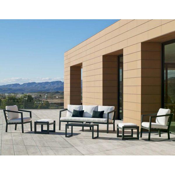 Salon de jardin en aluminium 5/7 places Aurana (Gris anthracite)