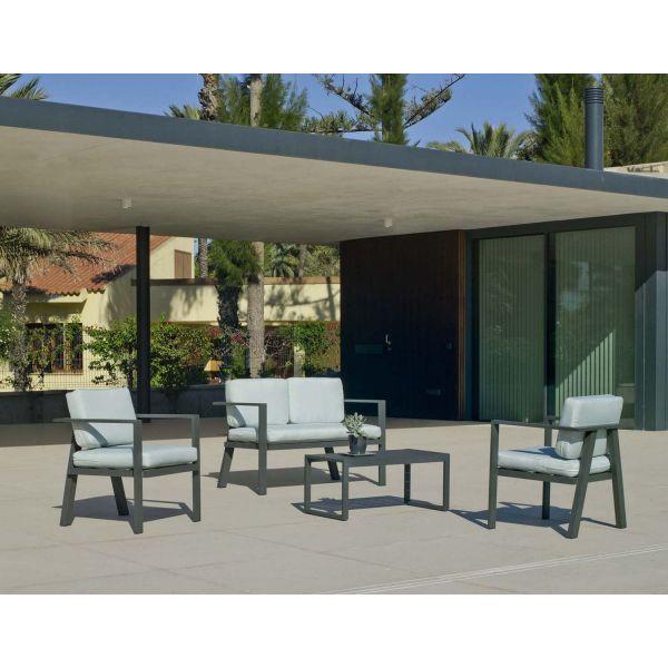 Salon de jardin en aluminium 4 places awena (gris anthracite)