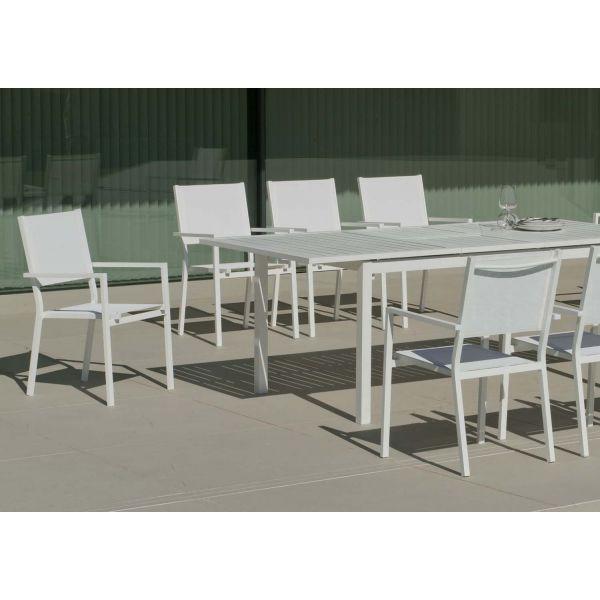 Salon de jardin en aluminium 8 places rimona blanc - Salon de jardin aluminium 8 places ...
