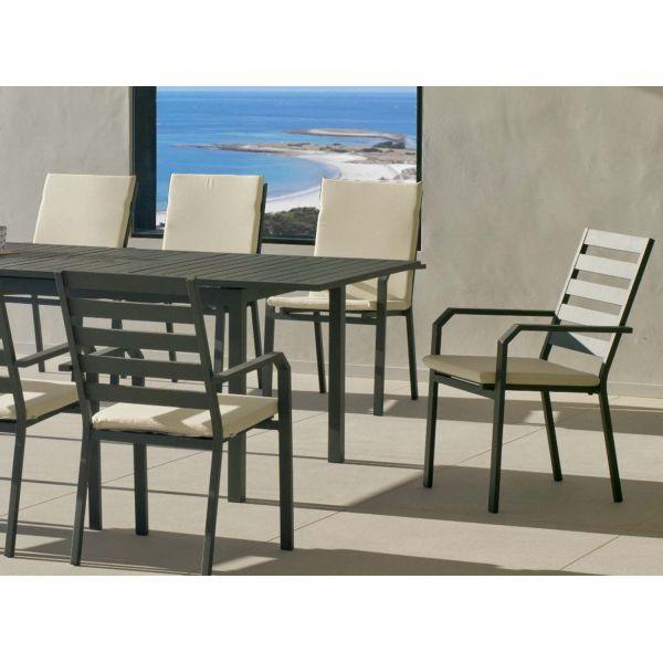 Salon de jardin en aluminium 8 places table extensible sarana - Salon de jardin aluminium 8 places ...