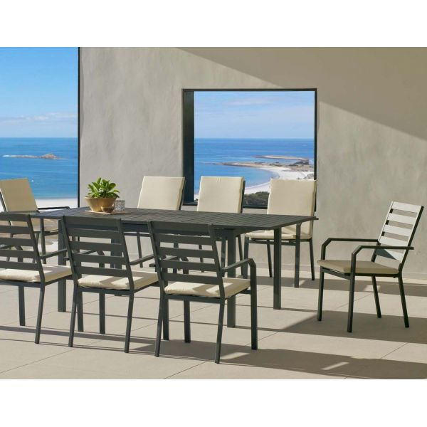 Salon de jardin en aluminium 8 places table extensible Sarana