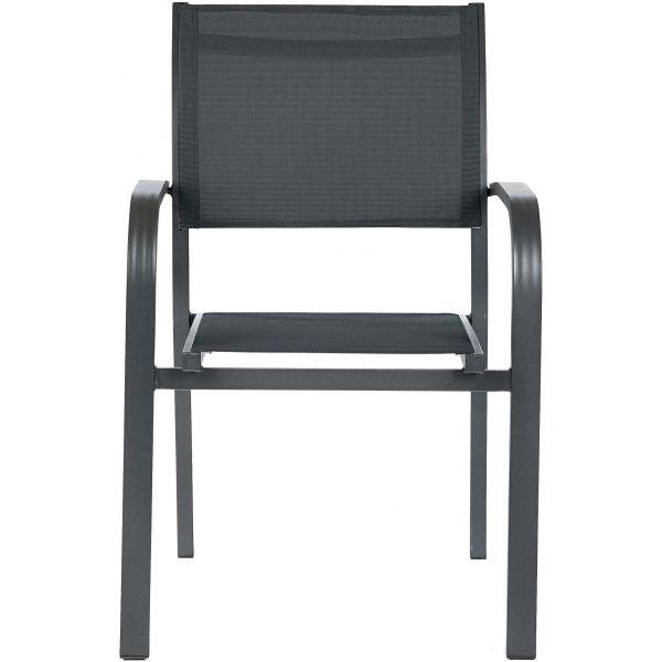 Salon de jardin aluminium et verre 6 fauteuils Honfleur (Table anthracite +  fauteuils toile gris anthracite)