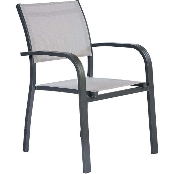Salon de jardin aluminium et verre 6 fauteuils Honfleur (Table anthracite +  fauteuils toile gris perle)