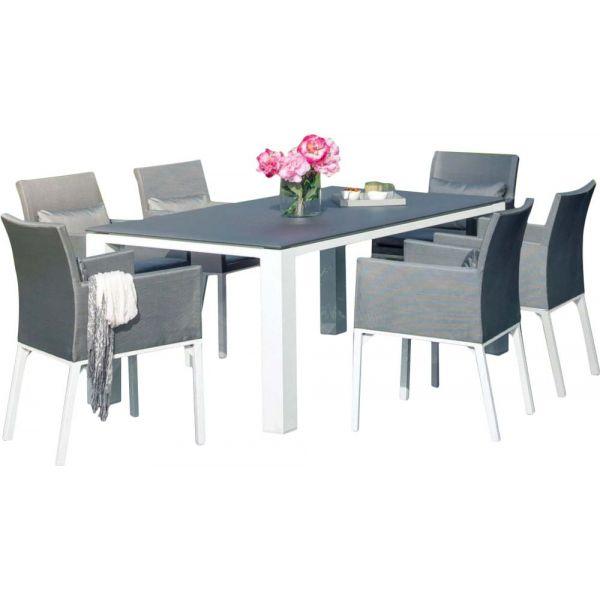 Salon de jardin confortable 6 fauteuils oslo (gris)