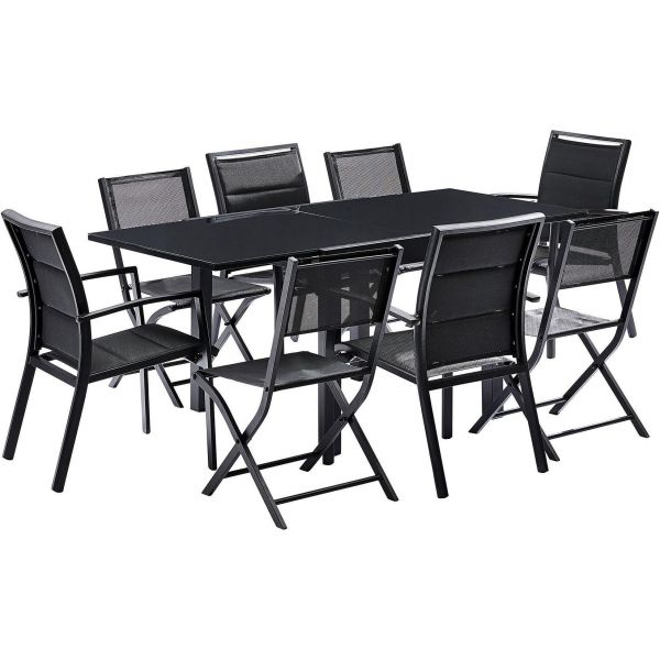 Salon de jardin design 8 personnes modulo (noir)