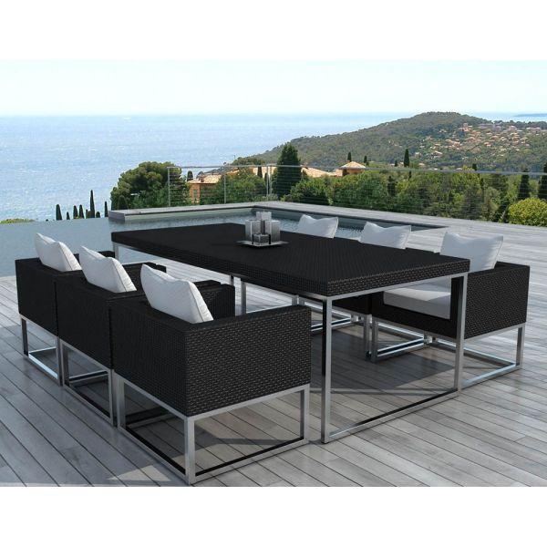 Salon de jardin design 1 table + 6 fauteuils
