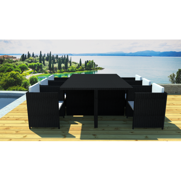 salon de jardin encastrable 6 places noir cru. Black Bedroom Furniture Sets. Home Design Ideas