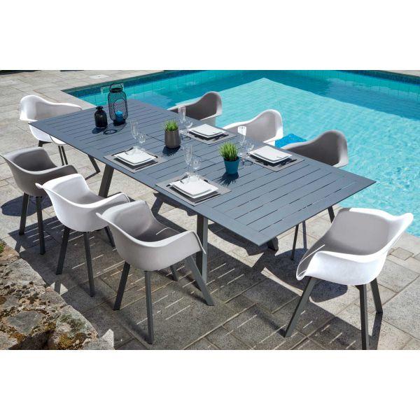 Salon de jardin moderne aluminium 8 personnes jules (table ...