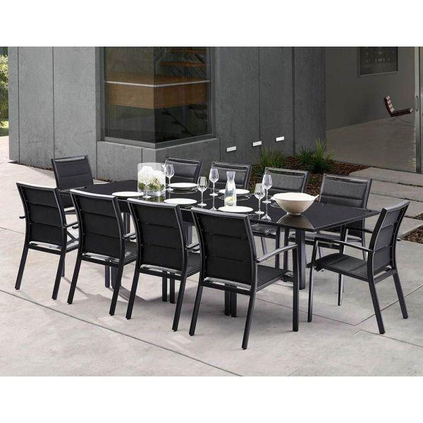 Table De Jardin Moderne.Salon De Jardin Moderne 10 Personnes Modulo Noir