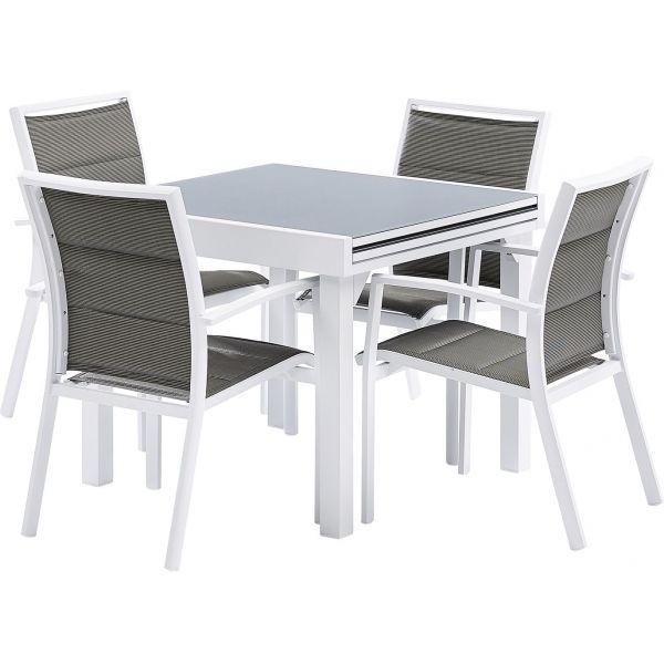 Salon de jardin moderne 4 personnes modulo (blanc)
