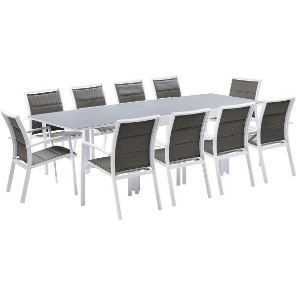 Salon de jardin moderne 10 personnes modulo (blanc)
