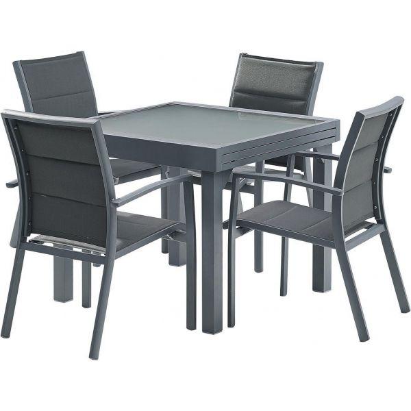 salon de jardin modulo gris 4 personnes en aluminium jardindeco. Black Bedroom Furniture Sets. Home Design Ideas