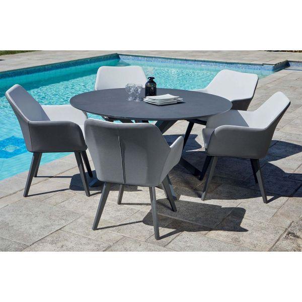 Salon de jardin table ronde + 5 fauteuils provence