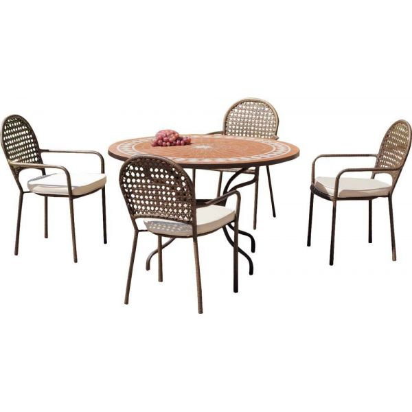 Salon de jardin table ronde et fauteuils 4 places | Jardindeco