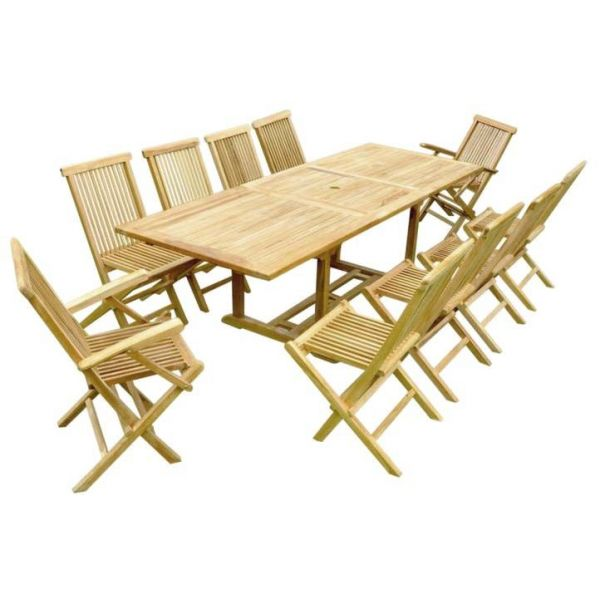 Salon de jardin teck table rallonge (8 chaises 2 fauteuils)