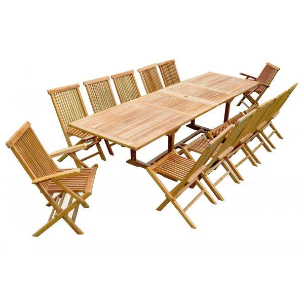 Salon de jardin teck table rallonge (10 chaises 2 fauteuils)