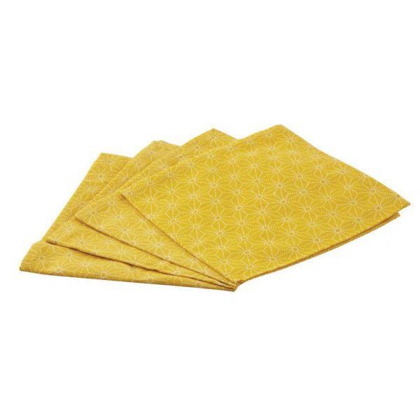 Serviette De Table En Coton Lot De 4 Jaune