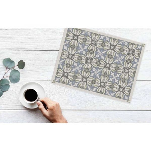 Set de table en vinyle carreaux de ciment feuilles - MATTEO