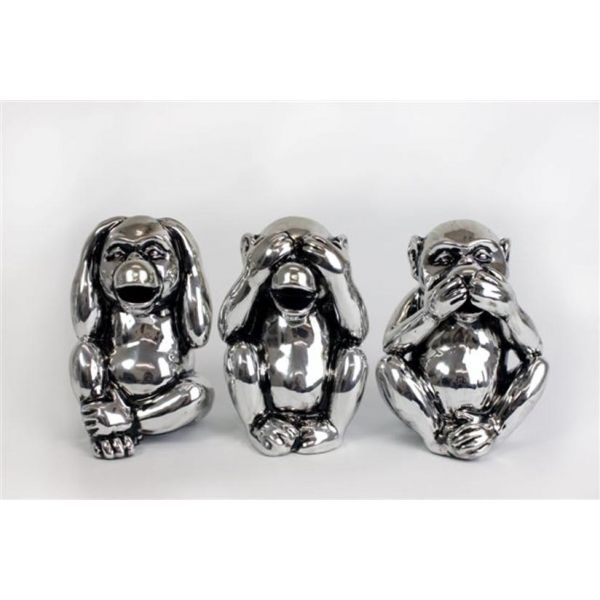 Set tirelires chromées singes rieurs (Lot de 3) - SIL