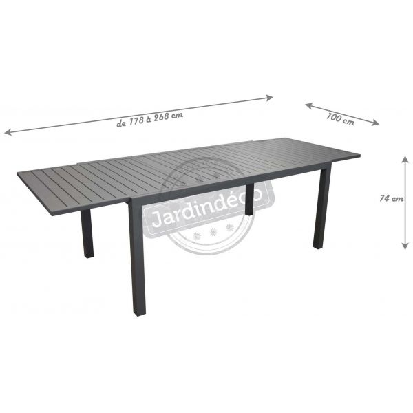 Table en aluminium avec allonge Solem 268 cm - PRL-0738